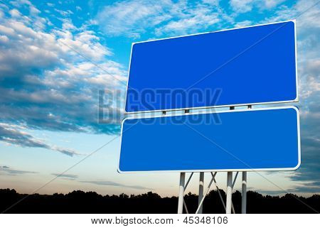 Road sign on sky background for past your information