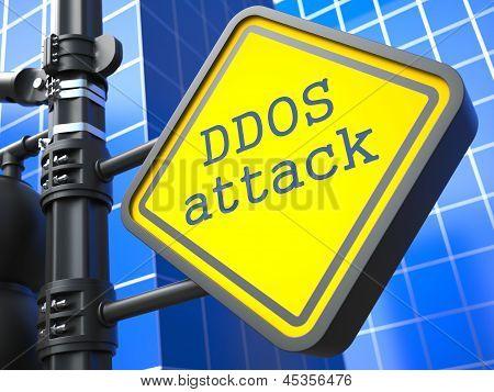 Internet Concept. DDOS Attack Roadsign.