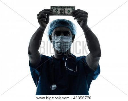 one caucasian man doctor surgeon medical worker  dollar bill  silhouette isolated on white background