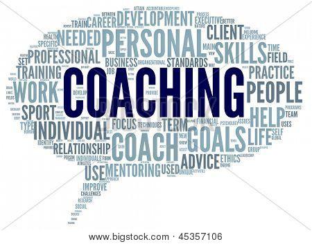 Coaching conceito relacionado palavras na tag cloud isolado no branco