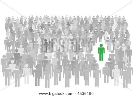 Individual Person Stands Out From Large Crowd Of Symbol People