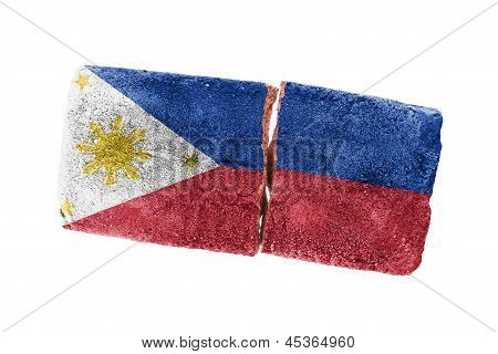 Rough broken brick isolated on white background flag of the Phillipines poster