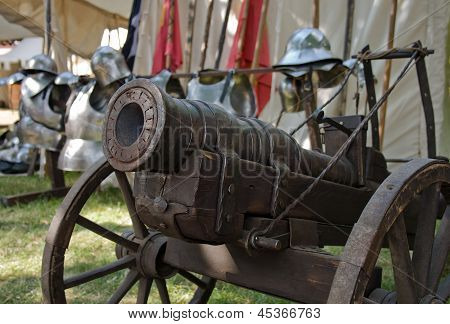 Old Field Cannon On Grass