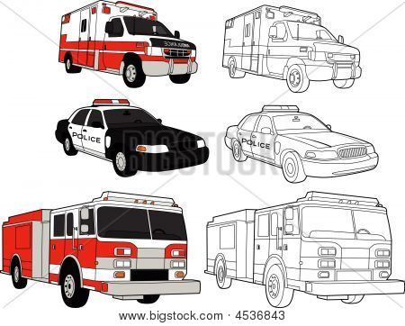 Response vehicles an ambulance a fire truck and a police car - in color and line drawings - these are all vector illustrations. poster