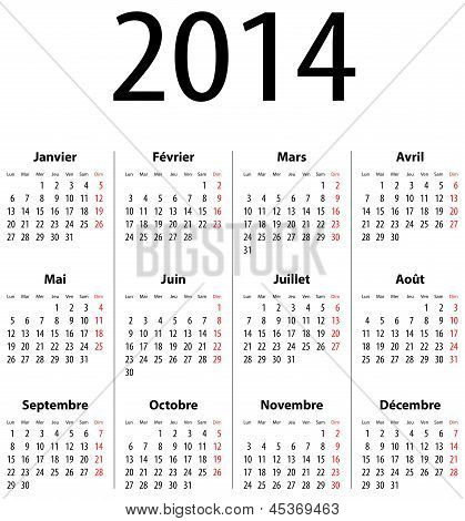 French Calendar grid for 2014. Mondays first. Vector illustration poster