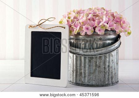 Blackboard For Copy Space With Hydrangea Flowers