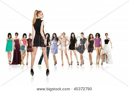 Group Of Young Women Isolated