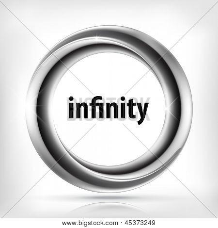 Metallic infinity swirl icon. poster