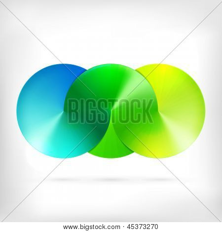 Abstract sign of three merged circles. Infinity sign. Spectrum icon.