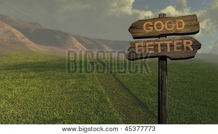 Sign Direction Good-better