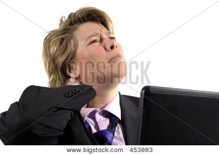 Business Woman Having Neck Trouble