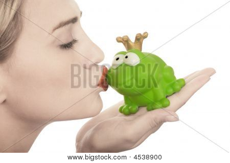Frog Price Being Kissed By A Beautiful Glamour Model