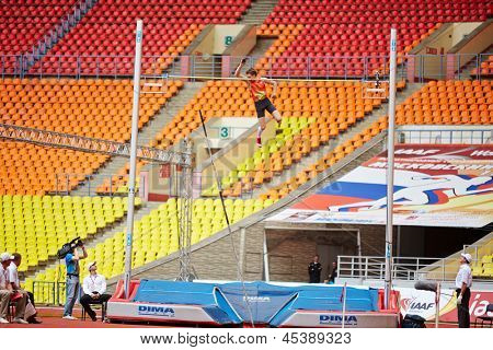 MOSCOW - JUN 11: D.Starodubtsev goes over bar at Grand Sports Arena of Luzhniki OC during International athletics competitions IAAF World Challenge Moscow Challenge, June 11, 2012, Moscow, Russia.