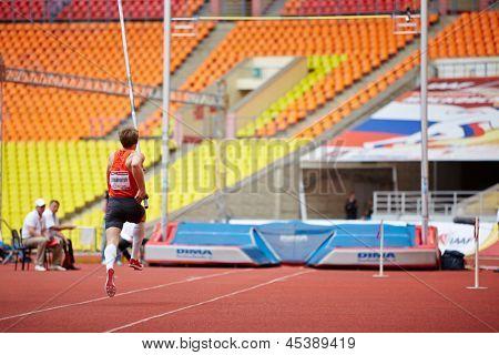 MOSCOW - JUN 11: Pole-vaulter D.Starodubtsev at Grand Sports Arena of Luzhniki OC during International athletics competitions IAAF World Challenge Moscow Challenge, June 11, 2012, Moscow, Russia.