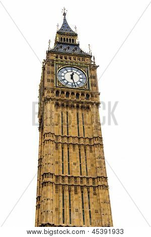 Big Ben tower isolated on white, 4 stitched pictures for large resolution