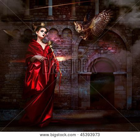 Mysticism.  Witchcraft. Sorcerer In Red Mantle With Vulture - Hawk. Ancient Scary Castle