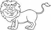 Illustration Of Outlined Happy Lion Cartoon Mascot Character poster