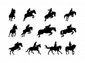 horse and rider silhouettes isolated on white poster