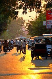 Rush Hour Traffic In Siem Reap, Cambodia