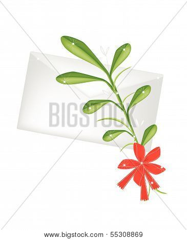 Lovely Green Mistletoe With A Red Bow And Letter