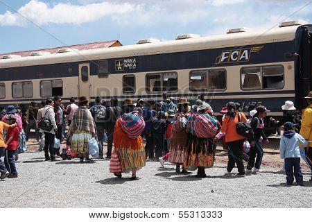 Indian women at the train station in Bolivia