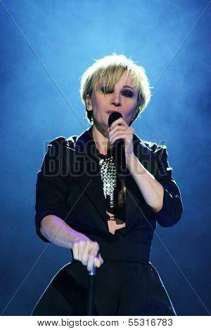 MINSK, BELARUS - FEBRUARY 13: Patricia Kaas performs live on February 13, 2010 in Minsk, Belarus