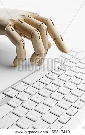 Artificial hand using a computer keyboard