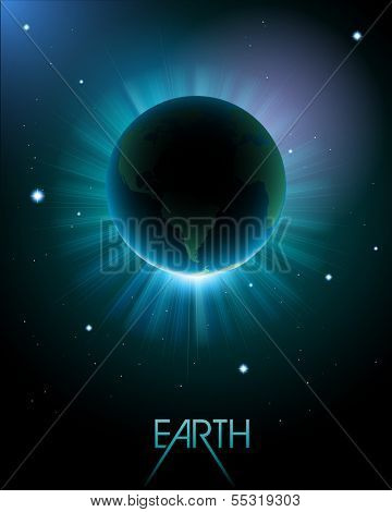 Earth in space, eps10 vector