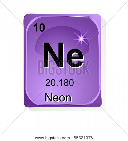 Neon chemical element with atomic number, symbol and weight