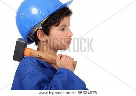 Child pretending to be a construction worker