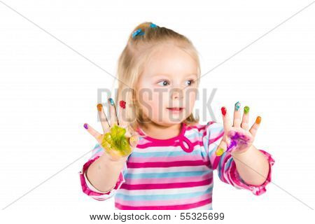 Child Painting With Fingers Isolated On White