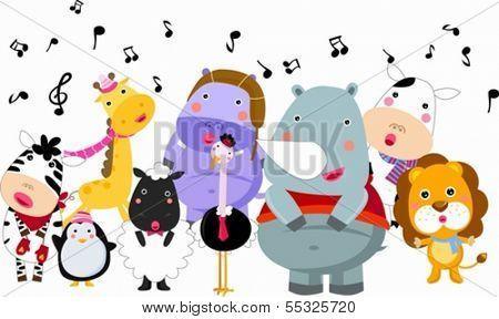 Cute group of animals sings in winter
