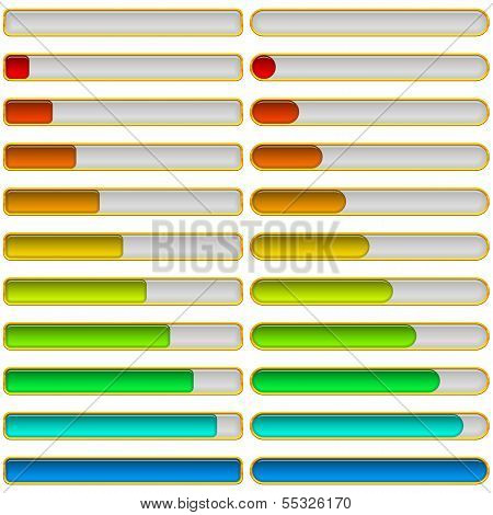Set of glass colorful loading progress bars at different stages, elements for web design. Vector eps10, contains transparencies poster