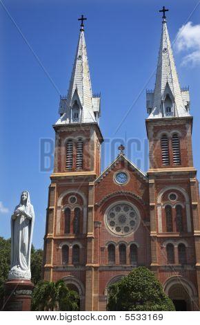 Notre Dame Catherdral Vigin Mary Statue Saigon Vietnam