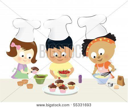 Kids baking cupcakes