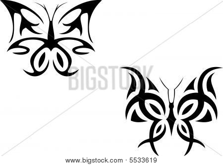 Isolated tattoo of beautiful black butterfly on white poster