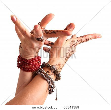 Female Hand Gesture Of Oriental Dance. Female Hand With Henna Painted