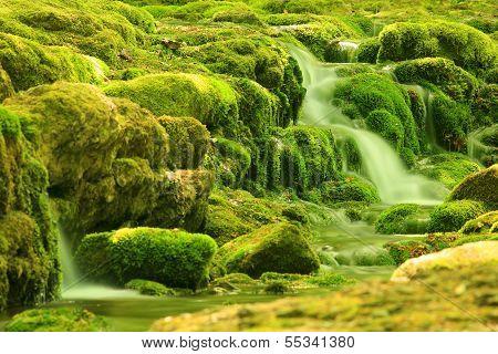 Waterfall, Mountain Stream. Black River. Crimea, Ukraine
