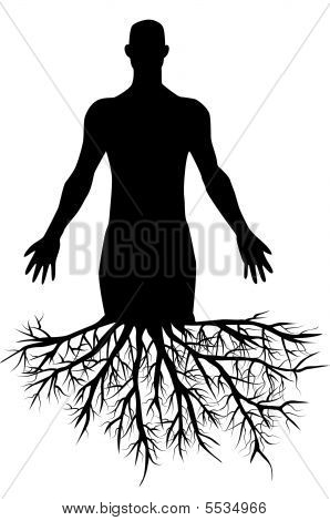 Man's Silhouette With Roots