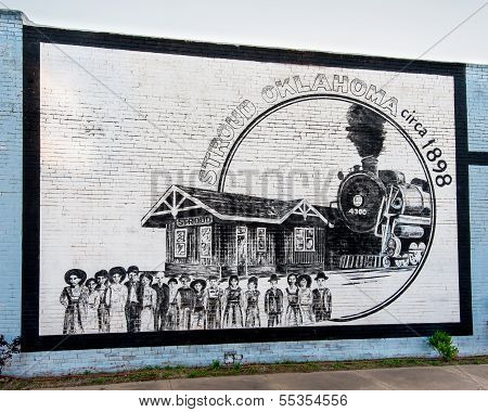Route 66: Stroud, Oklahoma railroad mural