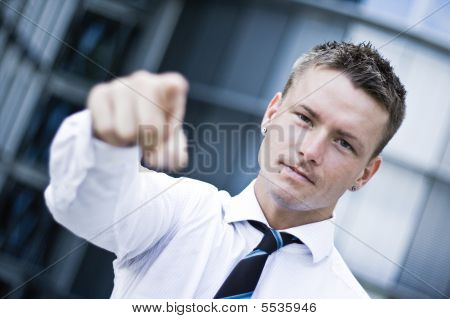 Handsome Corporate Man Pointing At You