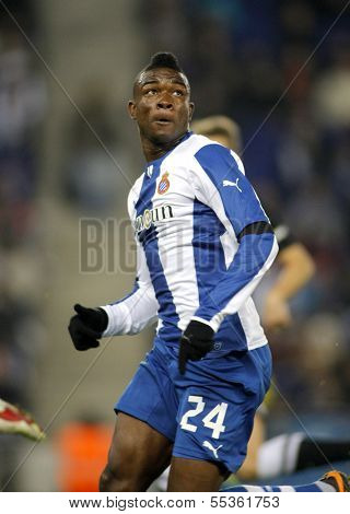 BARCELONA - NOV, 30: Jhon Cordoba of RCD Espanyol during a Spanish League match against Real Sociedad at the Estadi Cornella on November 30, 2013 in Barcelona, Spain