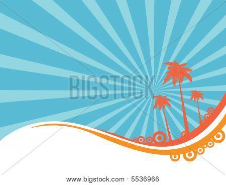 poster of Palm tree, summer background art vector illustration