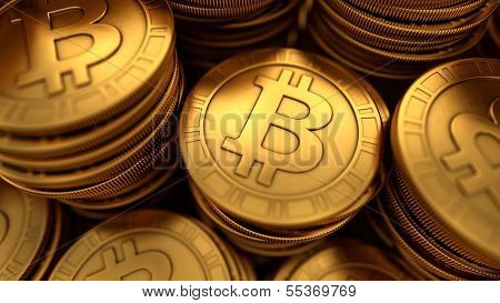 Close Up 3D Illustration Of Paneled Golden Bitcoins