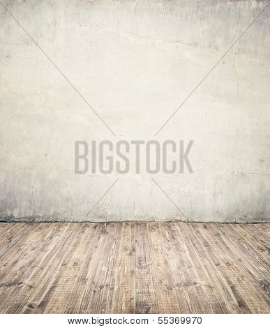 Empty room background. Wall ant wooden floor.
