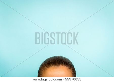 Template woman thinking concept on blue background