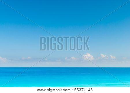 Skyline with blue sea and blue sky