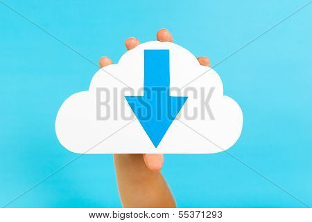 Downloading Content In The Cloud. Hand holding a cloud concept.
