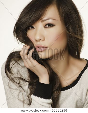 Portrait of a beautiful Asian woman's face