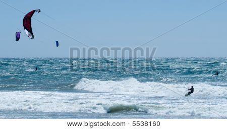 Multiple Kiteboarders